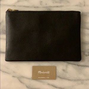 Madewell The Leather pouch clutch - black